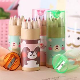 韩版创意文具 可爱mini小熊12色小铅笔绘画笔