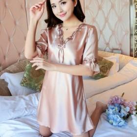时尚睡裙女夏冰丝家居服连衣裙薄款短袖大码丝质睡衣