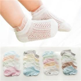 2020儿童袜子夏季薄款防蚊袜网棉婴儿花边宝宝船袜
