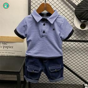 童装男童短袖套装Polo衫条纹学院风儿童夏装帅气工