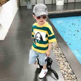 牛仔套装新款儿童洋气短袖纯棉T恤韩版夏季