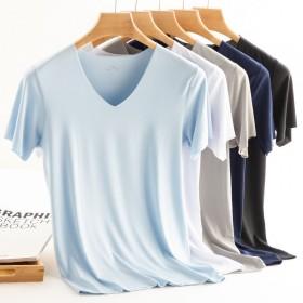 1-2件装男士短袖t恤男冰丝无痕V领纯色外穿修身透