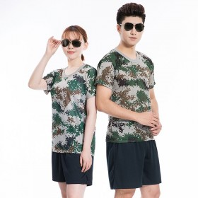 夏季速干迷彩短袖短裤体能训练服