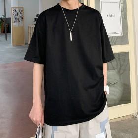 日系潮牌五分短袖男 潮流半袖T恤ins宽松纯色上衣