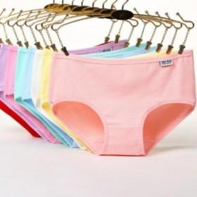 糖果色薄款全棉可爱女士内裤 低腰纯棉少女纯色透气