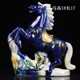 简约陶瓷小马摆件中式家居客厅装饰工艺品