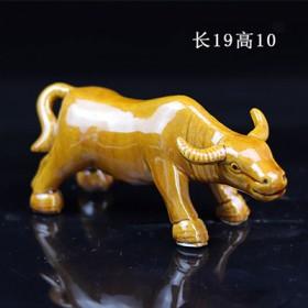中式手工陶瓷牛摆件工艺品