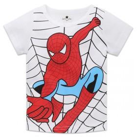夏季童装 儿童超人蜘蛛侠棉短袖童T恤 短款卡通童衫