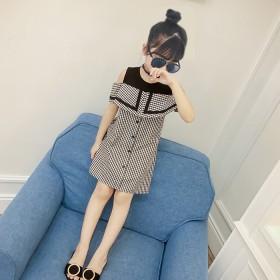 童装女童夏格子连衣裙2020新款小女孩夏季格子拼接