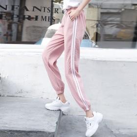 运动裤女春夏潮款学生韩版束脚bf风ins宽松显瘦百