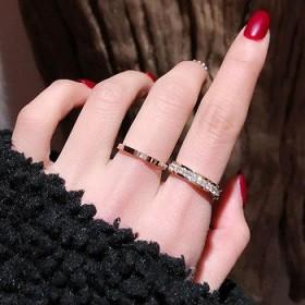 满钻钛钢戒指玫瑰金锆石手饰简约戒指爆款不锈钢戒指女