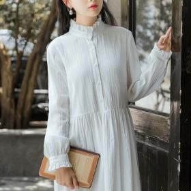 2020新款韩版春季棉纺复古文艺中长款长袖连衣裙