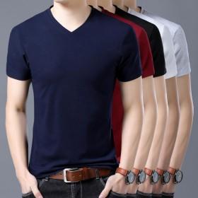 短袖T恤男士V领纯色修身休闲上衣鸡心领衫夏天
