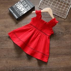 女童红色夏季连衣裙
