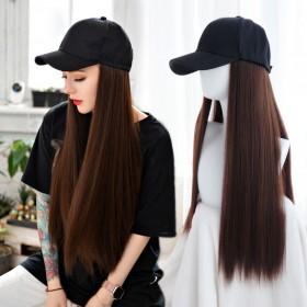 假发女长发网红帽子假发一体时尚长卷发大波浪自然