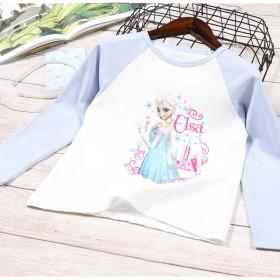 春装新款女童长袖T恤薄款宝宝上衣儿童卡通动漫公主打