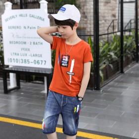 【95棉T恤×牛仔中裤】童装男童短袖套装2020新