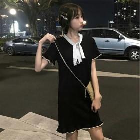 很仙的法国小众短袖连衣裙2020春夏新款韩版中长款