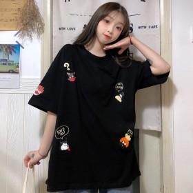 ins卡通T恤短袖女夏季情侣装日系学生韩版宽松拼接
