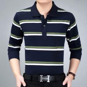秋季中年男士长袖T恤宽松加肥加大爸爸装休闲条纹PO