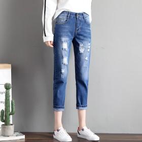2020春季新款破洞牛仔裤女韩版显瘦哈伦裤宽