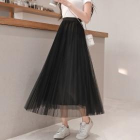 网纱半身裙女显瘦垂感超仙的百搭2020春季新款字遮