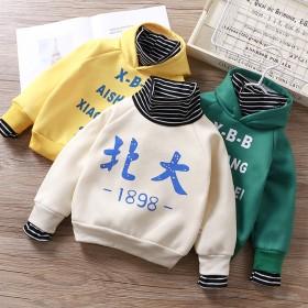 儿童新款加绒卫衣假两件宝宝单件上衣冬季韩版上衣