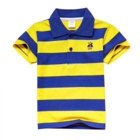 童装夏季男女童短袖T恤纯棉儿童半袖T恤中大童条纹翻