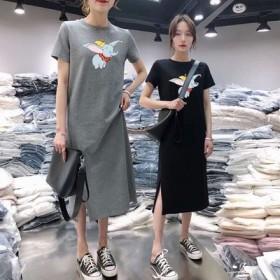 碧莎旗舰店韩版中长款T恤连衣裙
