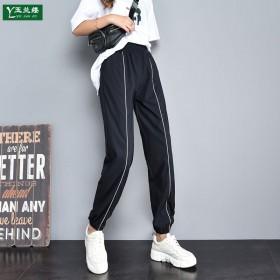 运动裤女学生韩版束脚宽松显瘦ins黑白条bf原宿休