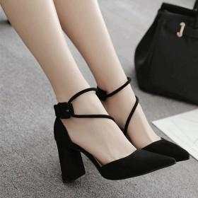 粗跟高跟鞋女2019春季新款韩版百搭女鞋黑色尖头一