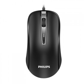 飞利浦鼠标有线USB家用办公商务笔记本静音无声台式