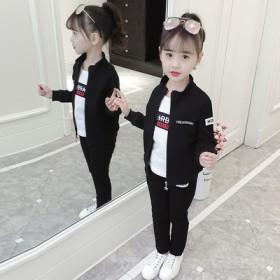 套装新款韩版洋气中大童纯棉字母绣花休闲立领三件套