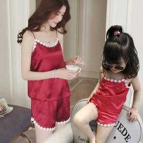 女童睡衣夏季吊带冰丝薄款公主家居服儿童中童亲子睡衣