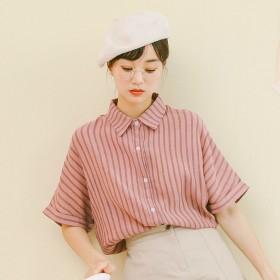 chic气质衬衣2020夏季女装新款韩版冰丝皱条纹