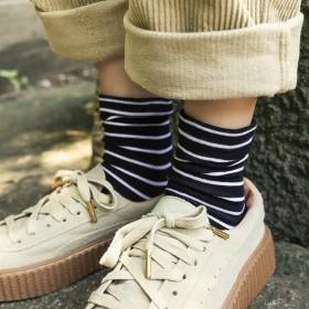 春秋季新品 可爱风内搭女士袜子 百搭条纹休闲中筒袜