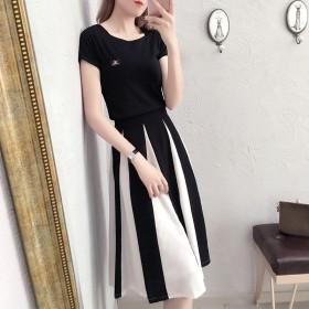 a字裙黑白拼接搭配棉上衣t恤加半身裙套装