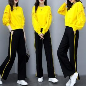 2020春新款女装时尚阔腿裤两件套宽松显瘦休闲运动