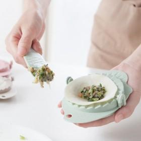 创意小麦秸秆包饺子器 馅料勺套装 挂式厨房家用包饺