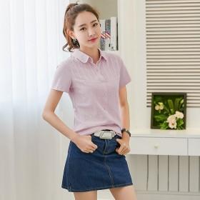 韩风小衬衫少女设计感小清新甜美短袖t恤女短款修身