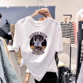 2020纯棉夏季新款卡通短袖t恤女装宽松打底衫女式