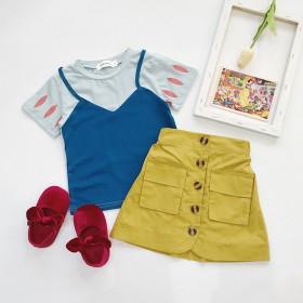 女童白雪公主裙假两件短袖吊带T恤短裙套装亲子母女装