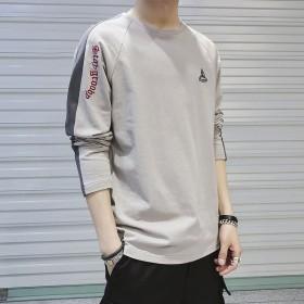 春季长袖t恤男学生韩版潮流男士纯棉体恤打底衫