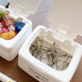 日式桌面收纳盒按键开启ins风化妆棉储存