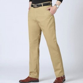 【优质棉】裤子男直筒高腰中老年男士宽松深档爸爸装商