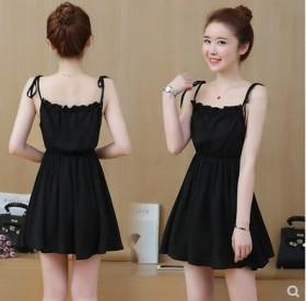 2020夏装新款韩版修身显瘦时尚百搭露肩黑色中腰吊