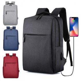 双肩包新款简约usb充电背包男女休闲商务电脑包