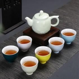 茶具套装家用陶瓷现代小清晰办公简约功夫茶具花草茶壶