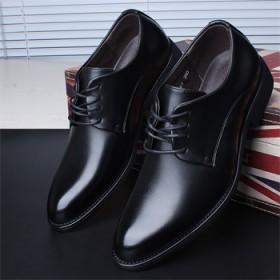 商务正装皮鞋系带牛皮黑色单鞋软底韩版上班鞋子新品