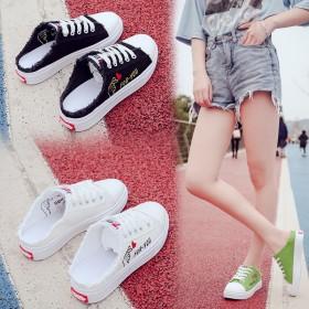 春夏季帆布鞋女半拖无后跟懒人一脚蹬小白鞋平平底板鞋